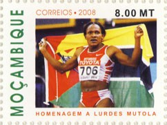 Homenagem a Lurdes Mutola 1v - Issue of Mozambique postage Stamps