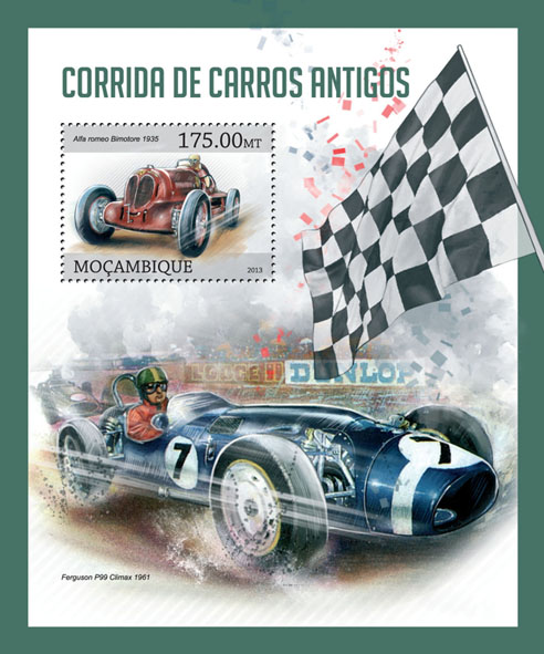 Old cars - Issue of Mozambique postage Stamps