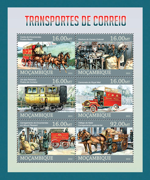 Mail transport. - Issue of Mozambique postage Stamps