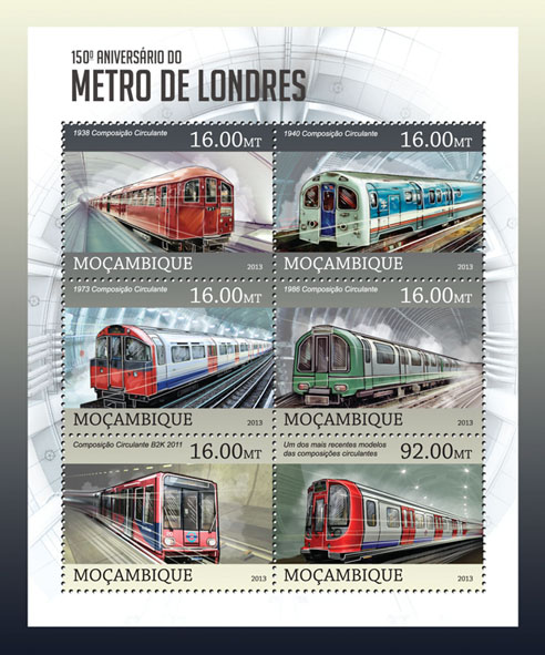 Metro - Issue of Mozambique postage Stamps