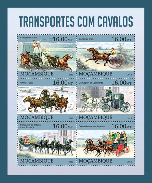 Transport with Horses. - Issue of Mozambique postage Stamps