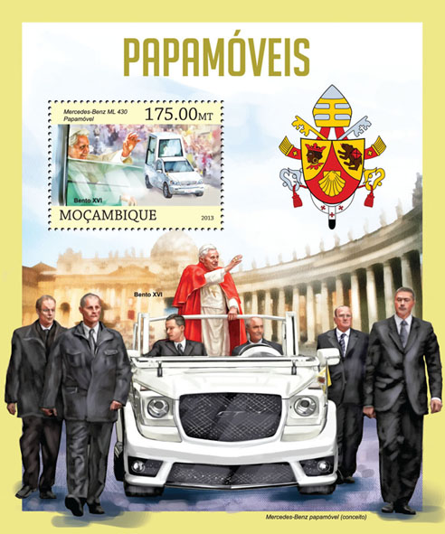 Pope cars - Issue of Mozambique postage Stamps