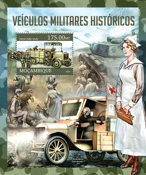 Military historical vehicles  - Issue of Mozambique postage Stamps