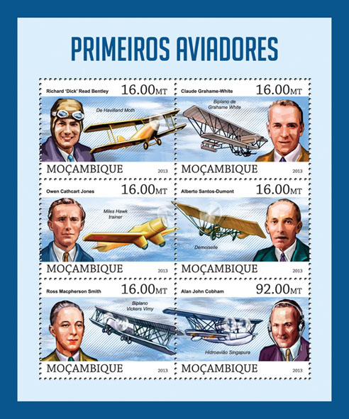 Aviators - Issue of Mozambique postage Stamps