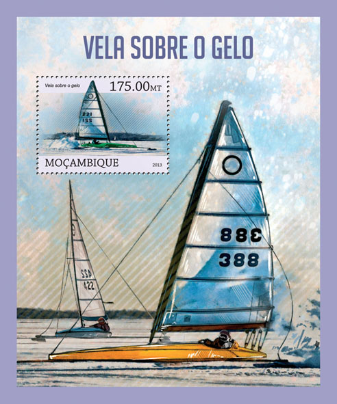 Sailing on the ice. - Issue of Mozambique postage Stamps