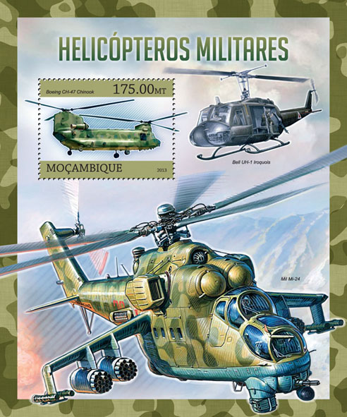 Military helicopters - Issue of Mozambique postage Stamps