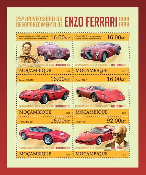 Enzo Ferrari - Issue of Mozambique postage Stamps