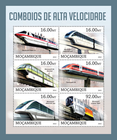 Trains - Issue of Mozambique postage Stamps