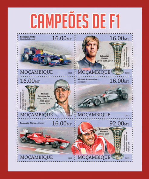 F1 champions - Issue of Mozambique postage Stamps