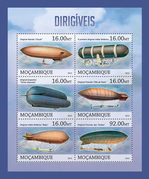 Dirigible - Issue of Mozambique postage Stamps