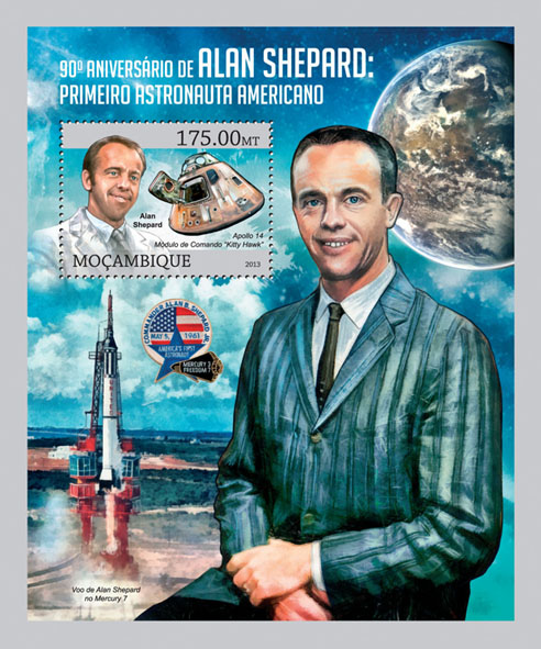 Alan Shepard - Issue of Mozambique postage Stamps