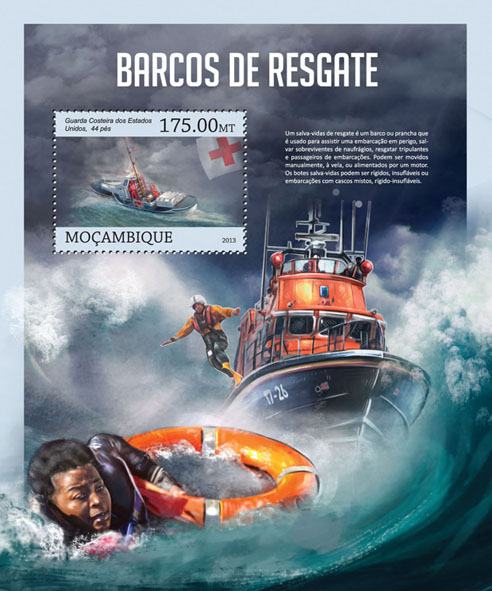 Rescue boats - Issue of Mozambique postage Stamps