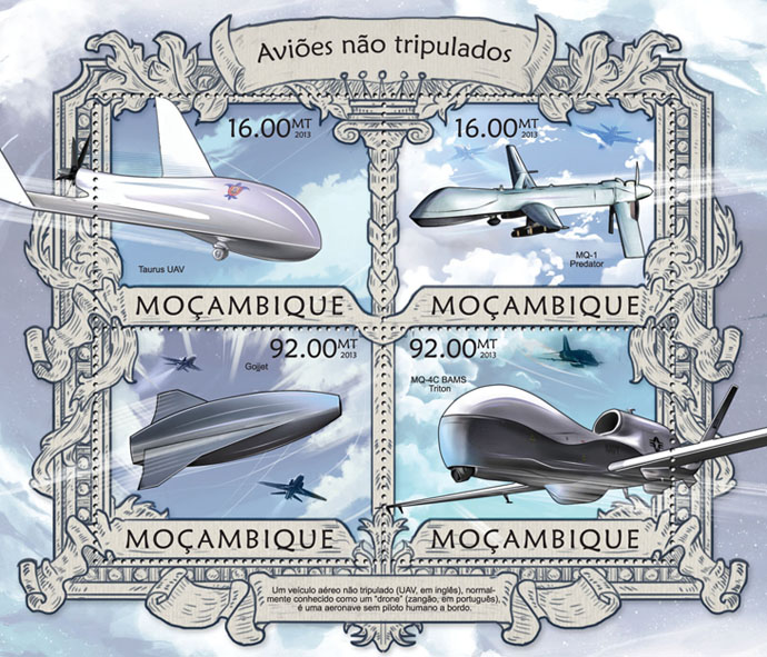 Aircraft - Issue of Mozambique postage Stamps