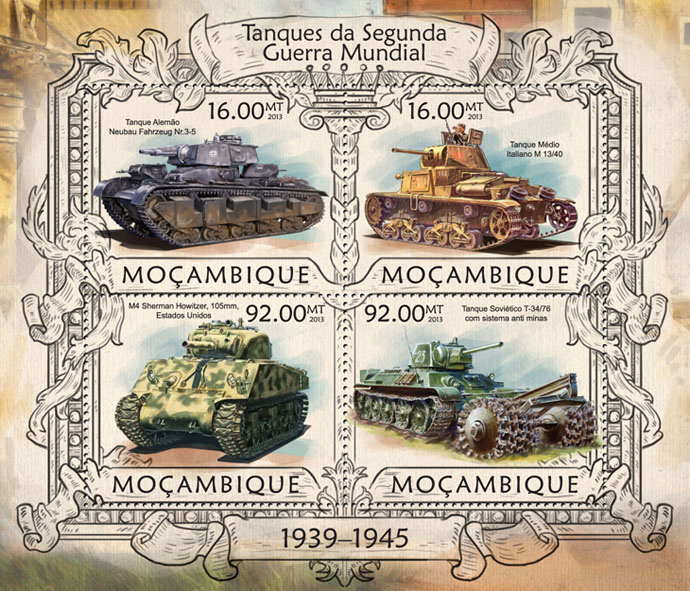 Tanks - Issue of Mozambique postage Stamps