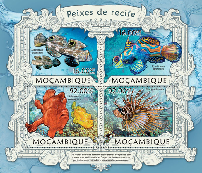 Reef fish - Issue of Mozambique postage Stamps
