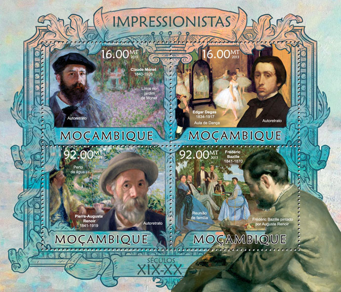 Impressionists - Issue of Mozambique postage Stamps