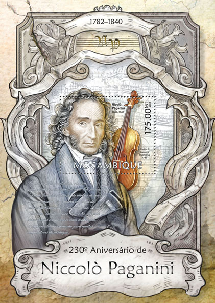 Niccolo Paganini - Issue of Mozambique postage Stamps