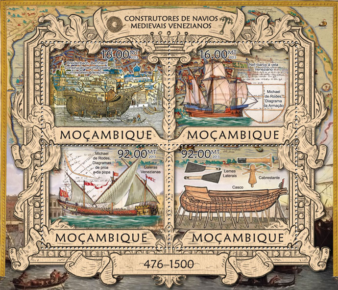 Ships - Issue of Mozambique postage Stamps