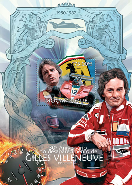 Gilles Villeneuve - Issue of Mozambique postage Stamps