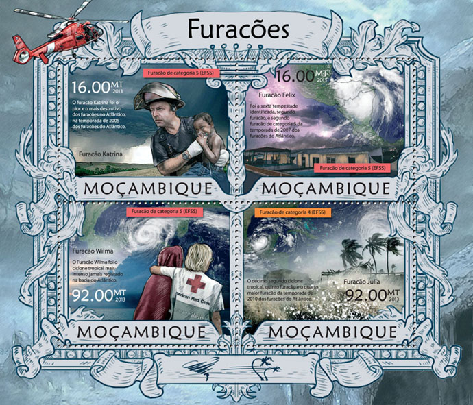Hurricanes - Issue of Mozambique postage Stamps