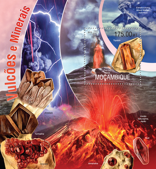 Volcanoes and Minerals - Issue of Mozambique postage Stamps