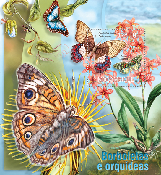 Butterflies and Orchids - Issue of Mozambique postage Stamps