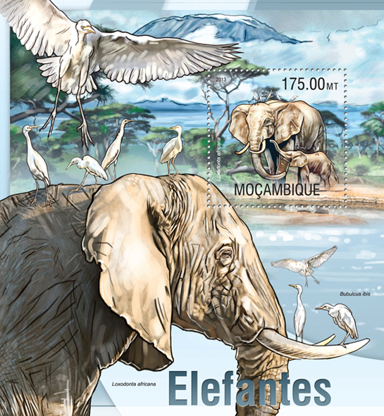 Elephant - Issue of Mozambique postage Stamps