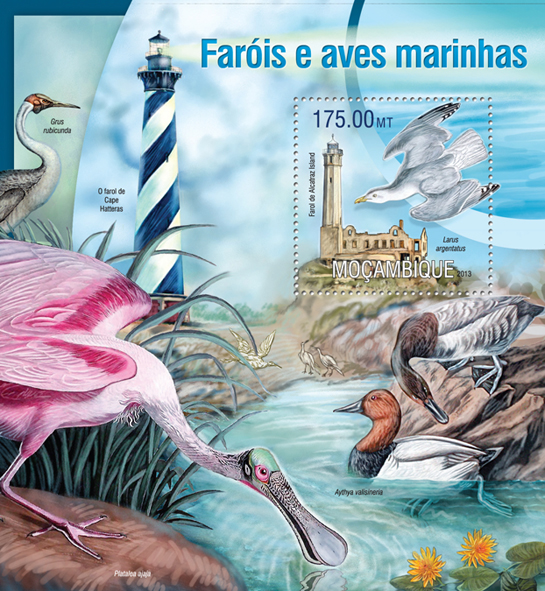 Lighthouses and birds - Issue of Mozambique postage Stamps