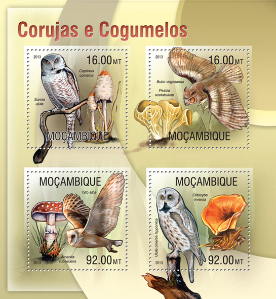 Owls and Mushrooms - Issue of Mozambique postage Stamps