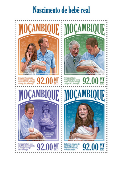 Royal baby - Issue of Mozambique postage Stamps