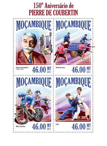 Pierre de Coubertin - Issue of Mozambique postage Stamps