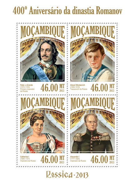 Romanov Dynasty - Issue of Mozambique postage Stamps