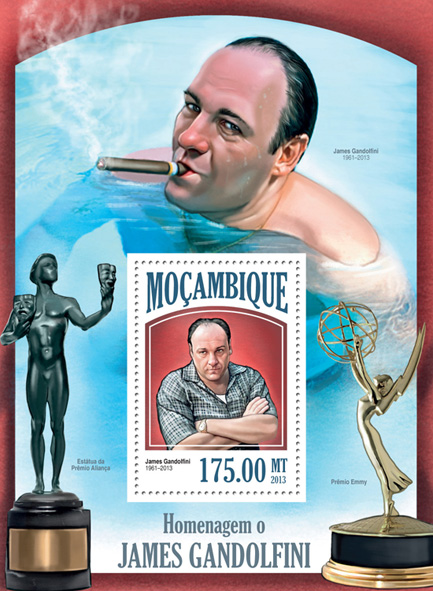 James Gandolfini - Issue of Mozambique postage Stamps