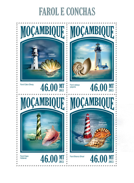 Lighthouses and shells - Issue of Mozambique postage Stamps