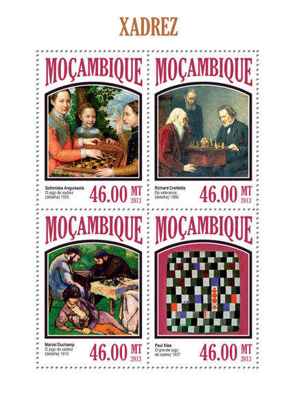 Chess in Art - Issue of Mozambique postage Stamps