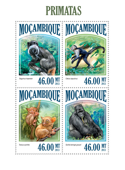 Primates - Issue of Mozambique postage Stamps