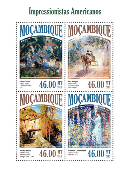 American Impressionists - Issue of Mozambique postage Stamps
