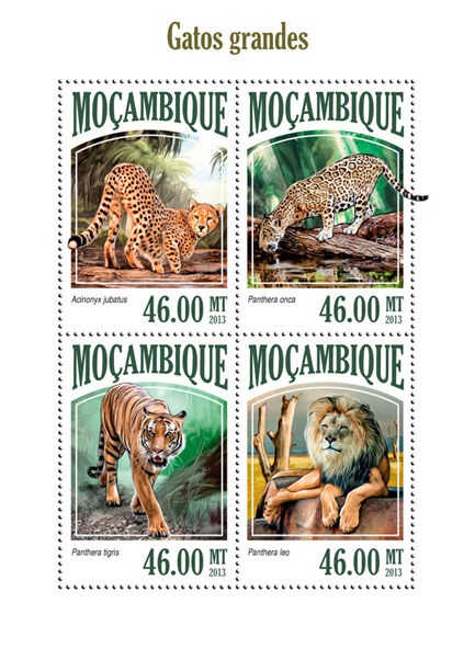 Big Cats - Issue of Mozambique postage Stamps