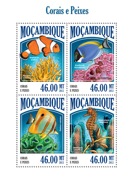 Corals and fishes - Issue of Mozambique postage Stamps