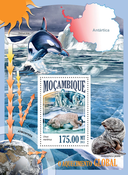 Global warming - Issue of Mozambique postage Stamps