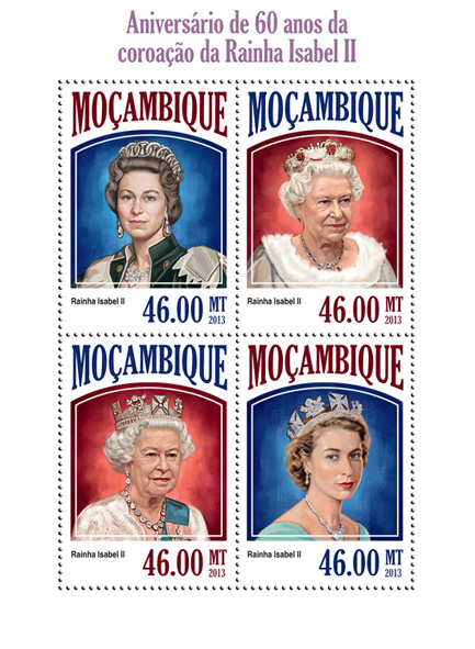 Elizabeth II - Issue of Mozambique postage Stamps