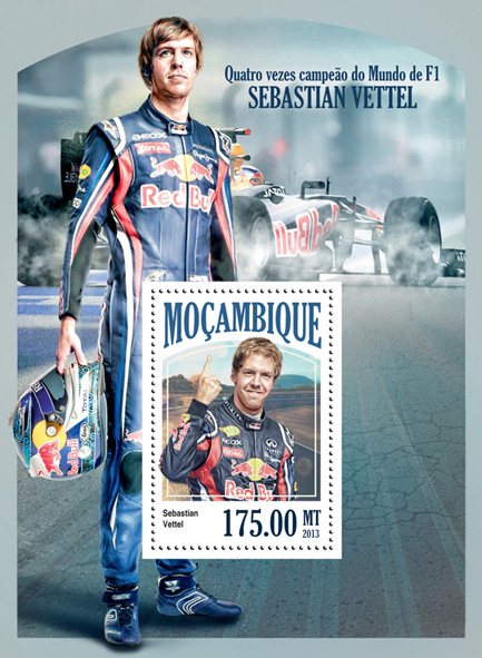 Sebastian Vettel - Issue of Mozambique postage Stamps
