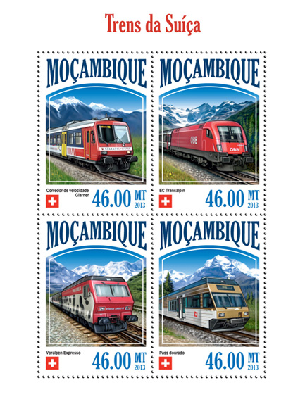 Swiss Trains - Issue of Mozambique postage Stamps