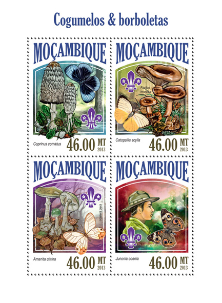 Mushrooms and butterflies - Issue of Mozambique postage Stamps