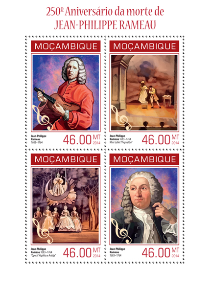 Jean-Philippe Rameau - Issue of Mozambique postage Stamps
