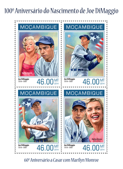 Joe DiMaggio - Issue of Mozambique postage Stamps
