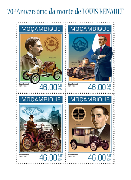 Louis Renault - Issue of Mozambique postage Stamps