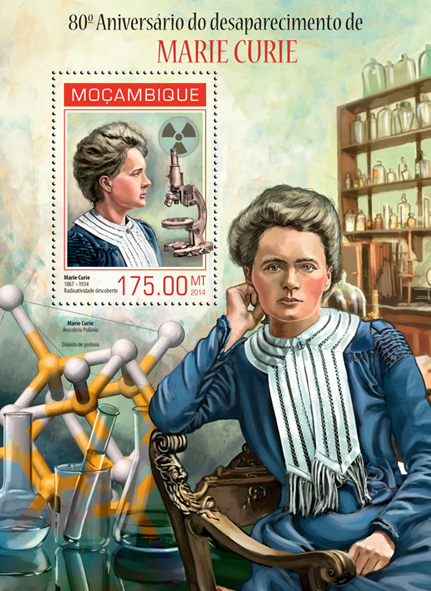 Marie Curie - Issue of Mozambique postage Stamps