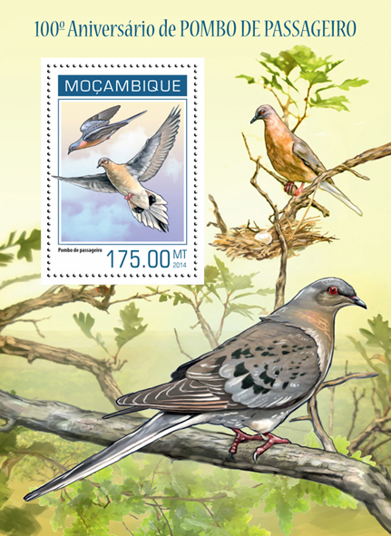 Passenger pigeon  - Issue of Mozambique postage Stamps