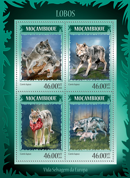 Wolves - Issue of Mozambique postage Stamps